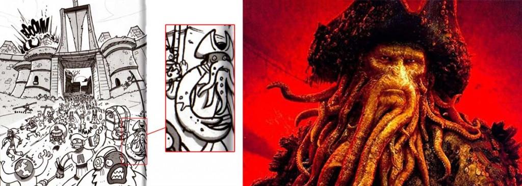Parmi les personnages qui fuient on peut voir Davy Jones (Dofus Tome 6)