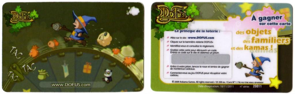 Carte de Loterie Dofus fournie avec le Tome 6 de Dofus