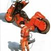 Kaneda devant sa moto (illustration de Katsuhiro Otomo pour la sortie de la VHS d'Akira)