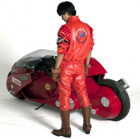 Blouson en cuir et moto de Kaneda (Akira)