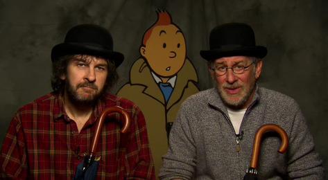 Peter Jackson et Steven Spielberg en Dupont / Dupond au salon d'Angoulême 2009 (DR)
