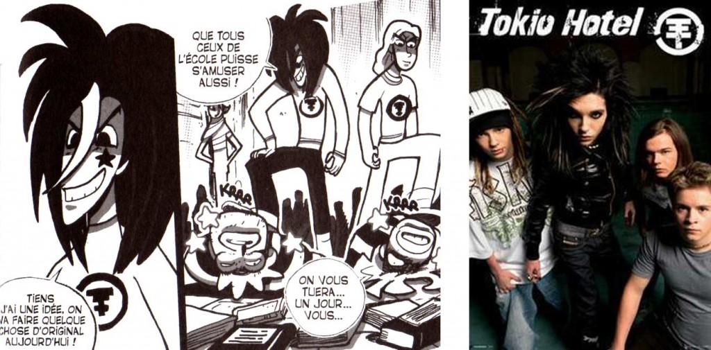 La bande de voyous qui tabassent Karibd et Silar sont des caricatures des membres du groupe Tokio Hotel