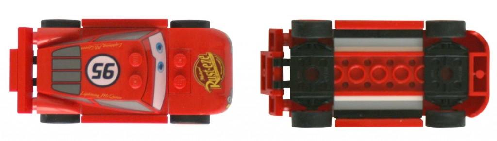 Vue de dessus et dessous du Flash McQueen Lego 8200