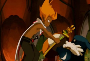 Tristepin rend sa couronne au Wa Wabbit (Wakfu)