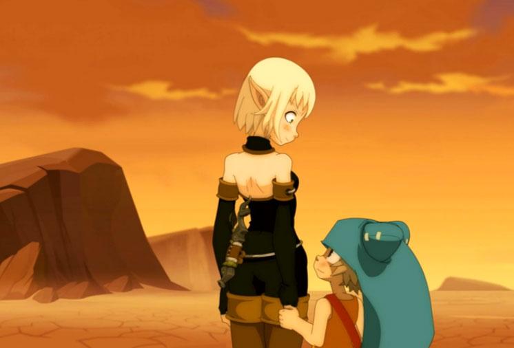 Yugo prend la main d'Evangelyne pour la remercier (Wakfu)