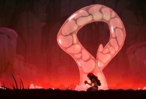L'esprit de la fontaine se matérialise sous forme d'un serpent d'eau (Wakfu)