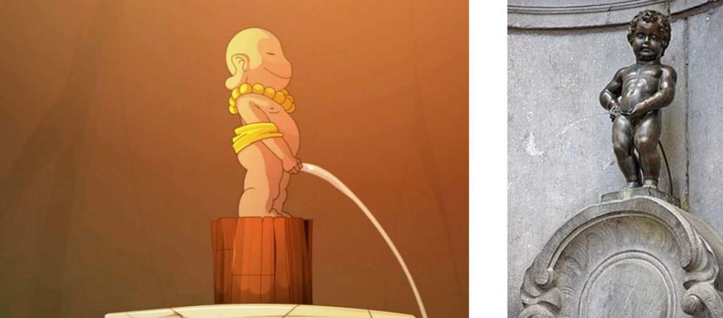Cette statue est inspirée du Manneken-Pis (Wakfu)