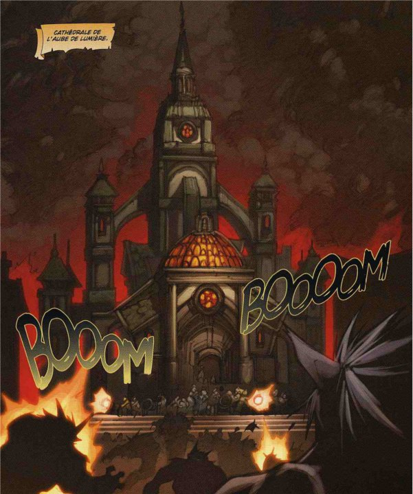 Cathédrale de Gilnéas dans la malédiction des worgens en train d'être attaqué par les worgens d'Alpha Prime