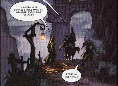 Décors de Gilnéas dans la bande-dessinée la malédictions des worgens tome 3. Godfrey discutant avec ses sbires.