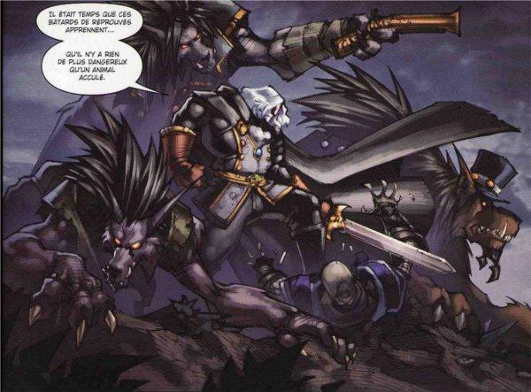 Grisetete et les worgens qui le suivent à l'assaut des réprouvés dans la BD la malédiction des worgens (tome 3)