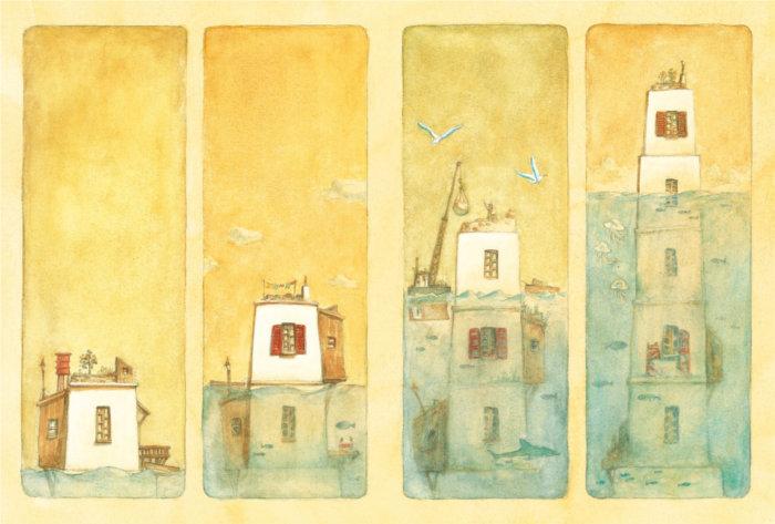 Page japonaise du livre La maison en petits cubes