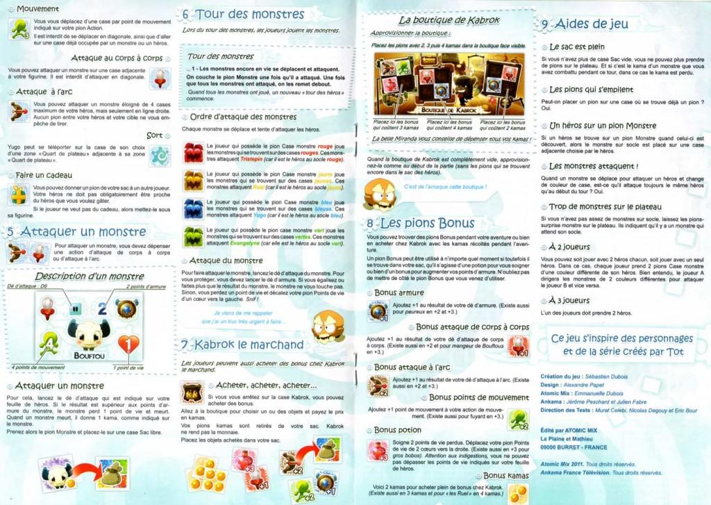 Page 4 et 5 de la notice du jeu d'aventures Wakfu