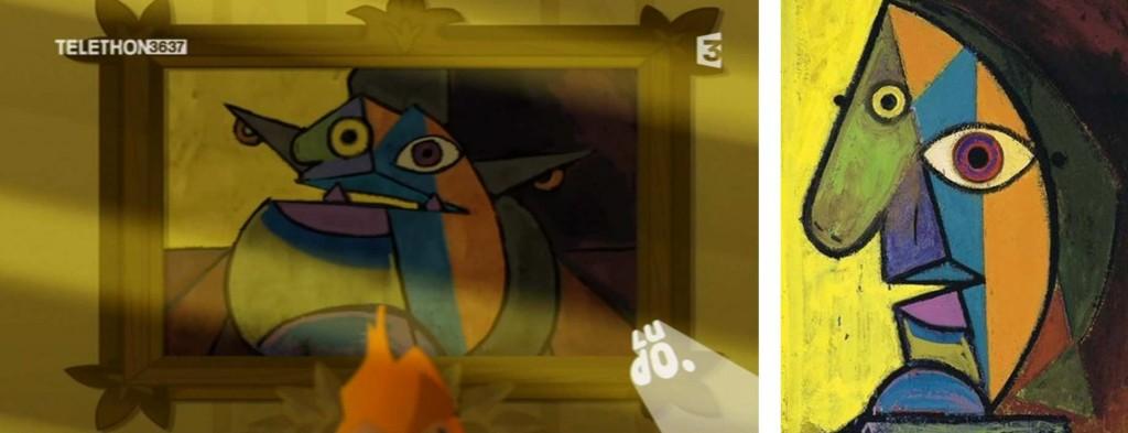 Ce tableau est une allusion à un auto portrait de Pablo Picasso peint en 1938
