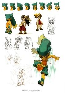Croquis de recherche sur Yugo (art book Xa Colors sur Wakfu et Dofus)