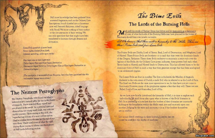 Exemple de page du livre de Cain (source : http://www.blizzplanet.com/blog/comments/diablo-iii-book-of-cain-8-page-preview)