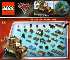 Dos du Packaging du Lego 8201 de Martin (Cars 2)