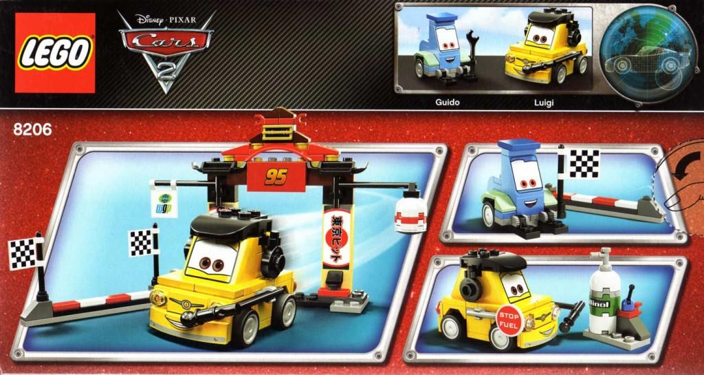 Vue de dos du packaging du Lego 8206 - Guido et Luigi Tokyo Pit Stop (Cars 2)