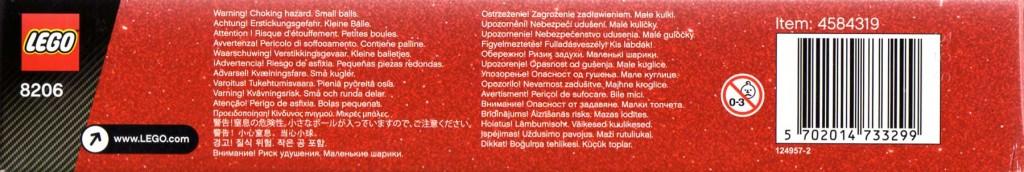 Vue de dessous du packaging du Lego 8206 - Guido et Luigi Tokyo Pit Stop (Cars 2)
