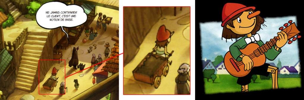 On peut voir de dos le personnage de Pinocchio tiré du dessin animé réalisé par les studios Nippon Animation et Tatsunoko Productions en 1976