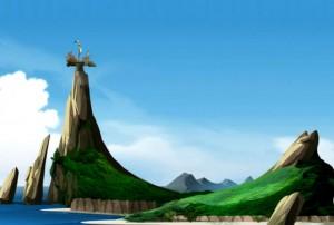 Le bateau est coincé en haut d'un pic rocheux