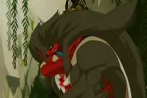 Rubilax fusionne avec le singe Tristepin (Wakfu)