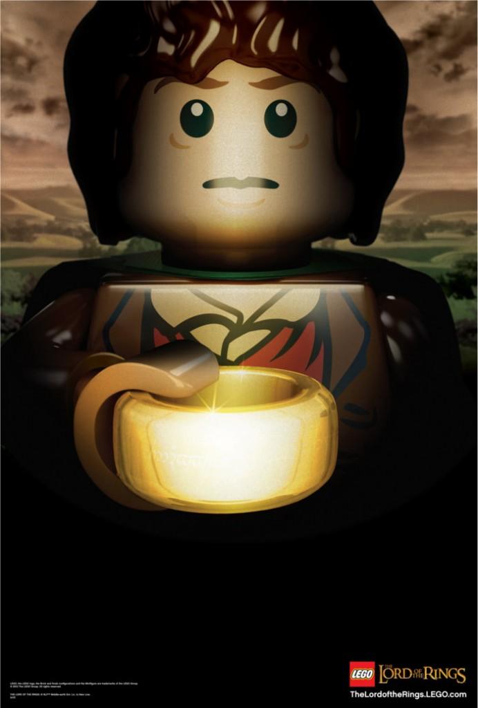 Frodon en mode Lego portant l'anneau unique (Seigneur des anneaux)