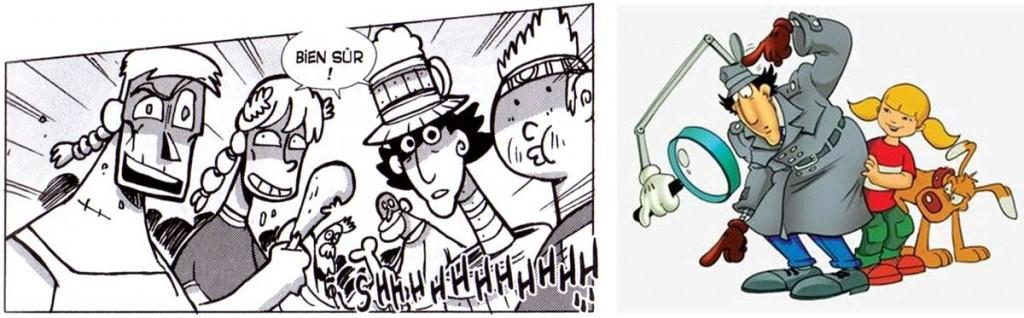 Le personnage de droite avec un cou télescopique est l'inspecteur Gadget