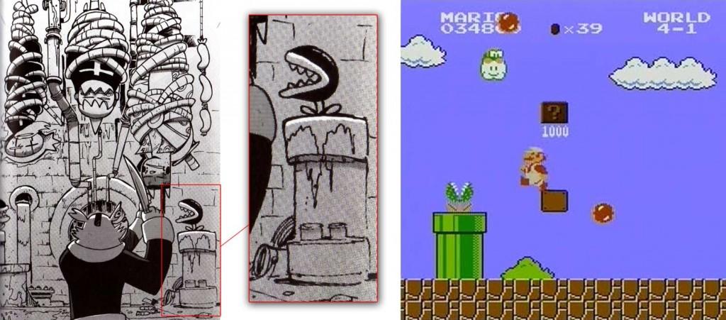 La plante qui sort d'un tuyau est une allusion au jeu Super Mario Bros de Nintendo.