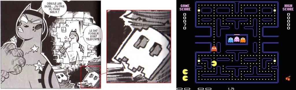 À la dernière case on peut voir les fantômes en pixels tirés du jeu de Pac-Man.