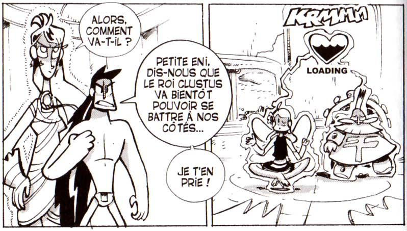 Galgarion et Jiva protègent Lily et le Roi Clustus (Dofus)