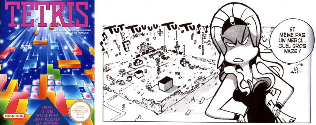 Les briques qui tombent sont celles de Tetris (Dofus)