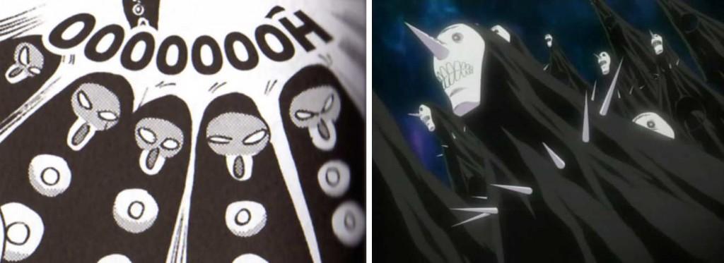 Les espèces de fantômes noirs sont une allusion aux Menos, des Hollow tirés du manga Bleach