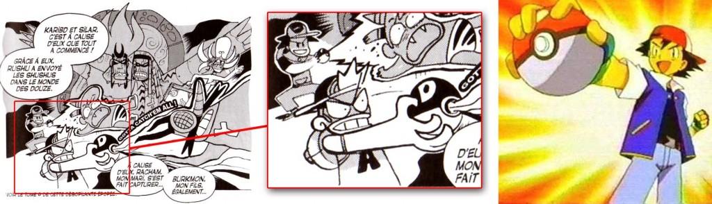 Le personnage du fond est un clin d'œil à Sacha, le personnage principal de Pokemon