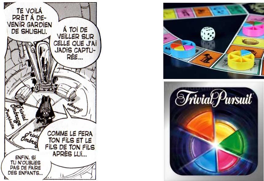 On peut lire sur le sol Trivial Ombrage Poursuite en référence au célèbre jeu Trivial Pursuit