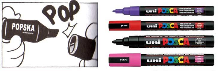 la marque Popska en référence à Posca, une marque de feutres