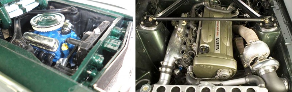 Dans le Modèle réduit, il y a le V8 de la Mustang au lieu du moteur de Nissan Skyline GTR