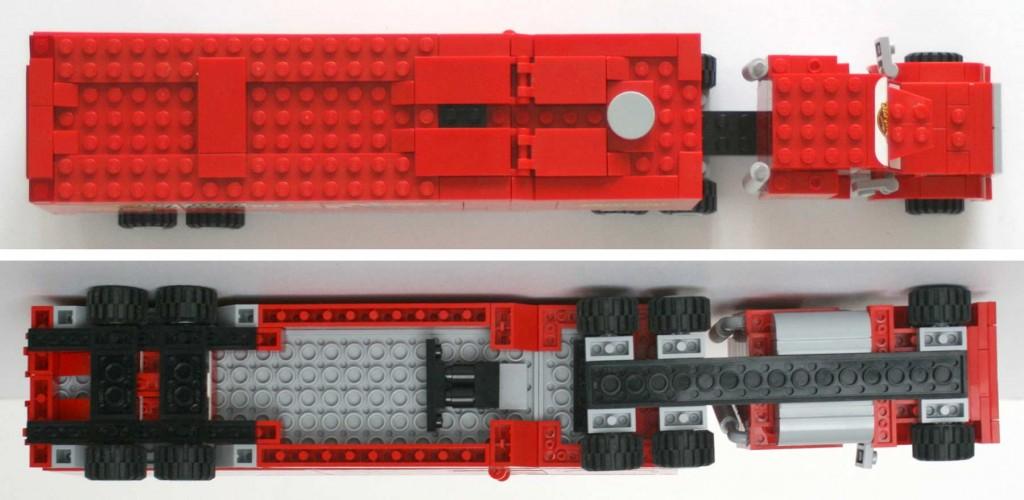 Vue de dessus et dessous du Mack Lego 8486 (Cars)