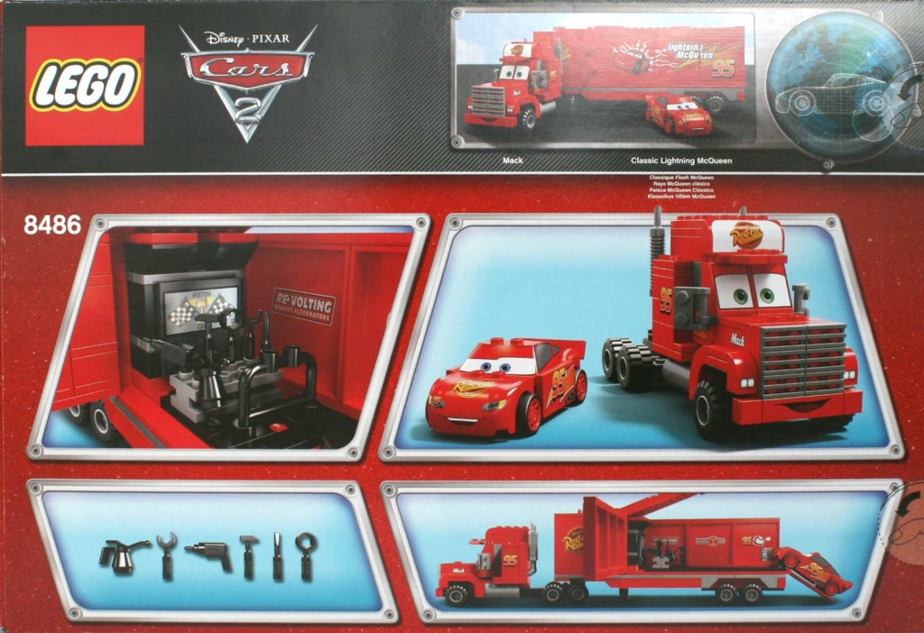 Vue de dos du Packaging Lego 8486 : Mack & Flash Mc Queen (Cars)