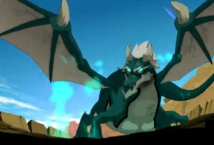 Faéris se transforme en dragon (Wakfu)