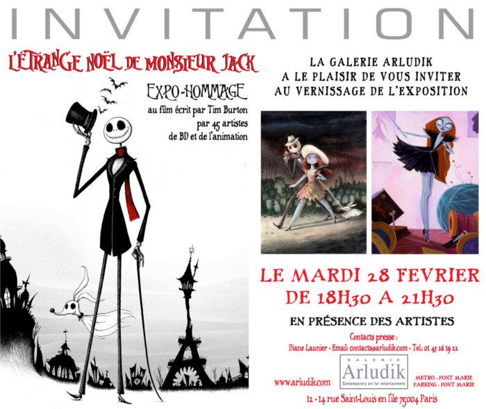 Invitation vernissage Exposition Etrange Noel de Mister Jack à Arludik le 28 Février au soir