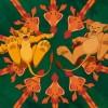 Simba et Nala portés par les girafes (Le Roi Lion)