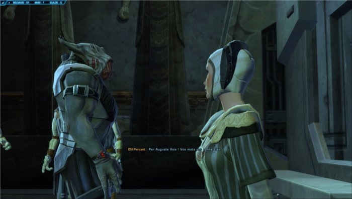 Star Wars : The Old Republic, exemple d'une discussion entre le joueur et les PNJ