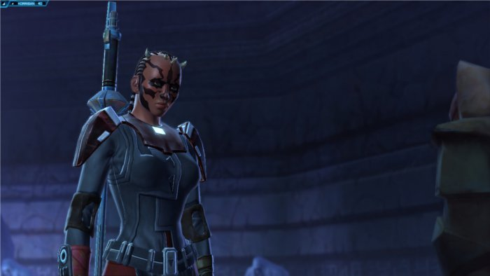 Star Wars : The Old Republic Gros plan de visage d'un Sith calme