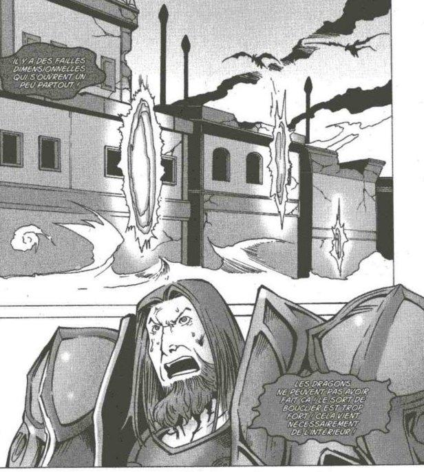 Rhonin organise la défense de Dalaran contre les dragons bleux dans le manga Mage (Warcraft)