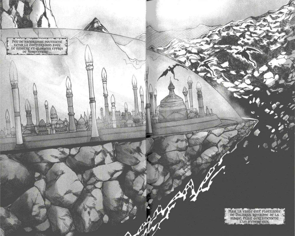 Page 1 et 2 du manga Mage avec une vue de Dalaran (Warcraft)