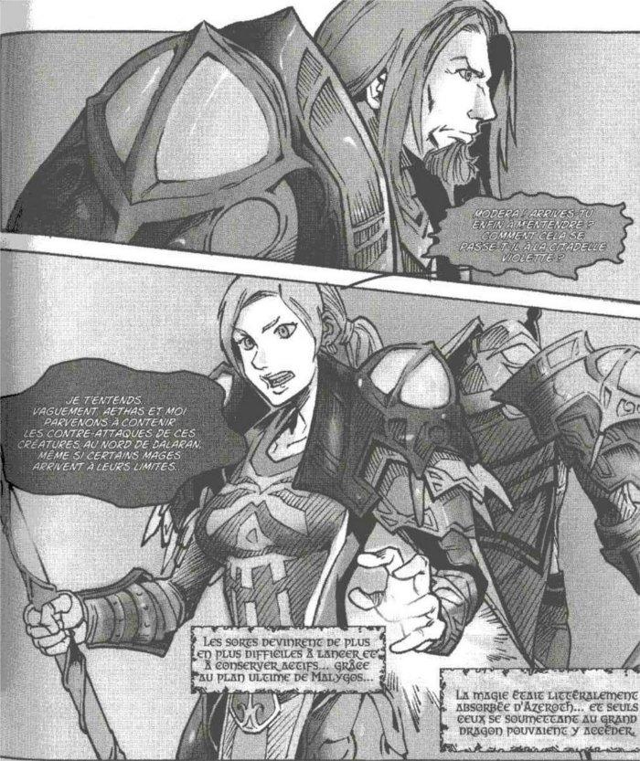 Rhonin et Modeta défendant Dalaran dans le manga Mage (Warcraft)