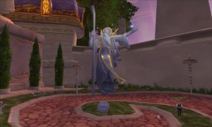 Statue d'Anthonidas, responsable du Kirin Tor lors de l'attaque du Fléau. Il a été tué par Arthas (Dalaran, World of Warcraft)