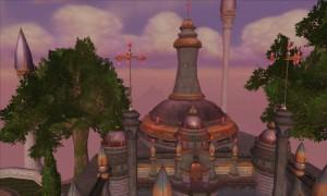 Extérieur du fort Poupre où a lieu l'instance du même nom (Dalaran, World of Warcraft)