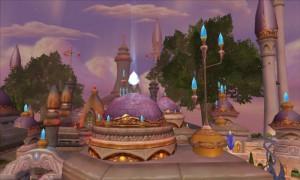 Vue de Dalaran prise en volant au milieu de la ville (World of Warcraft)