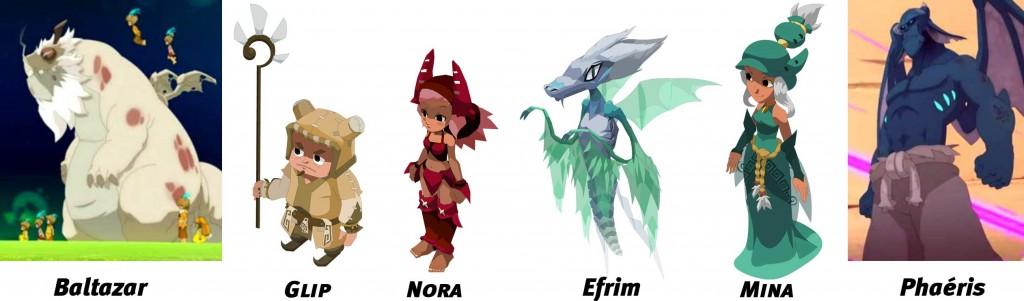 Baltazar, Glip, Nora, Efrim, Mina et Phaéris (Wakfu)